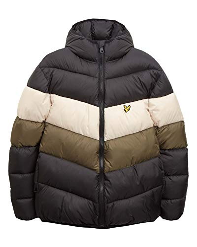 Lyle and Scott Colour Block Puffer Winterjacke Herren schwarz/Oliv, XL