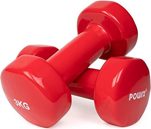 POWRX Vinyl Hanteln Paar Ideal für Gymnastik Aerobic Pilates 0,5 kg – 10 kg I Kurzhantel Set in versch. Farben (2 x 3 kg (Rot))