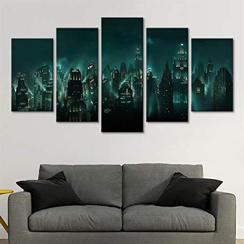 SPLLEADER Leinwandbilder Home Decor HD-Druck 5-Panel Bioshock Rapture Nachtansicht Ölgemälde Modular Abstrakt Spiel Poster Wand-Kunst-Leinwand-Gemälde (Size (Inch) : Size 3)