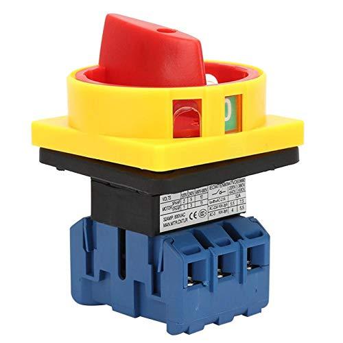 3 polos, 2 posiciones, protección para los dedos, tamaño pequeño, interruptor selector de potencia, interruptor de carga, interruptor giratorio, interruptor de 440 V para máquinas(32A)