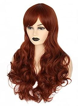 Topcosplay Women s Hair Wigs Auburn Brown Long Deep Wave Cosplay Halloween Costume Party Wigs Dark Red