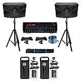 Rockville Karaoke Machine System w/ Pair 12' Speakers+Bluetooth Mixer Amp+Mics + Rockville R14GSBR100 Red/Blk 14 Gauge 100' Ft. Mini Spool Car Audio Speaker Wire