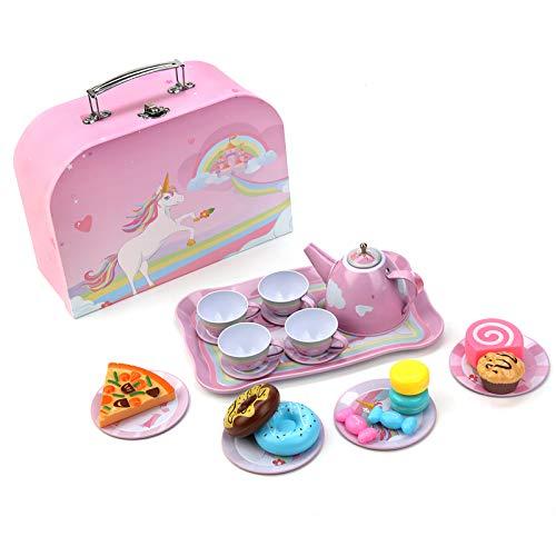 BEIAOSU Teeservice Set Teeset für Kinder mit Koffer Kaffeeservice Geschirr aus Zinn 24 Teilig Rollenspiele Puppengeschirr Kinderküche