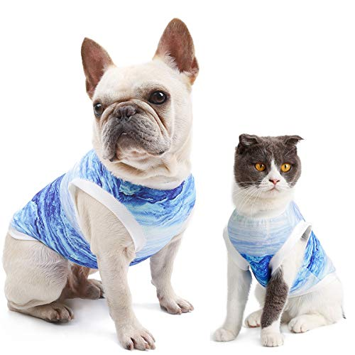 DELIFUR Dog Cool Vest Instant Cooling Clothes for Bulldog Cats on Summer (M(Chest 21.3'))