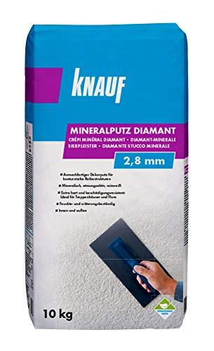 Knauf Mineralputz Diamant 2,8-mm Körnung – mineralischer Dekor-Putz, als Decken-, Wand-Belag oder Außen-Putz, kratzfest und witterungsbeständig, Weiß, 10-kg