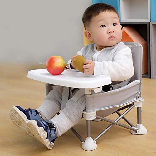 DELITLS Silla de bebé plegable portátil para comer, acampar, playa, césped, césped desmontable plegable con bandeja para niños, silla de comedor en casa