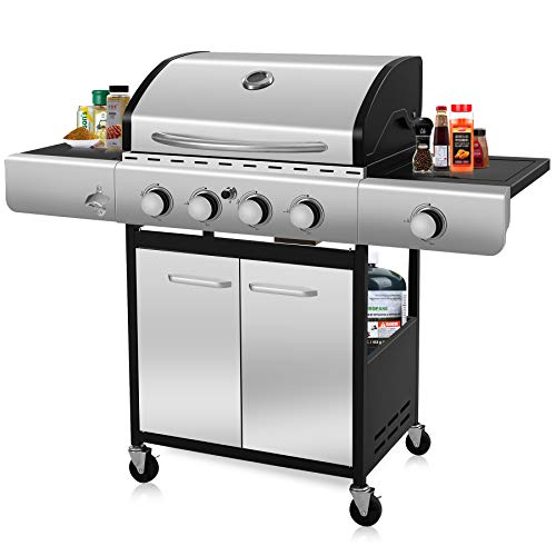 LHRIVER Portable BBQ Propane Grills - 42000 BTU 4-Burner Stainless Steel Cooking Propane Outdoor Gas Grills, Thaw&Heat Preservation Cover&Side Shelf and Burner for Outdoor, Black Grills Propane
