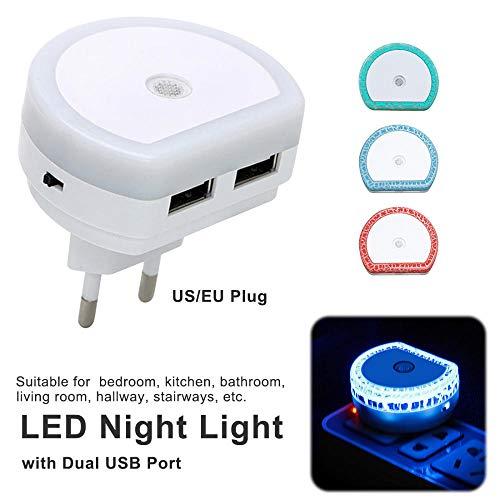 Witte Eu/Us-stekker Led-nachtlampje met twee USB-opladers stekker schemering tot ochtendschemering sensor wandlamp-wit_EU