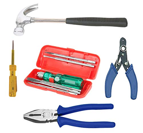 """Real stf Multi Hand Tool Kit 9 Pieces Combination Side Cutting Plier 8"""", Claw Hammer 1/2 lb, 5 Pc Screw Driver Kit, Wire Stripper 6"""", Tester with Neon Bulb"""
