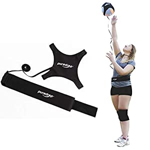 Puredrop Volleyball Training Equipment Aid Great Trainer for Solo Practice of Serving Tosses and arm Swings Returns The Ball After Every Swing Adjustable Cord and Waist Length fits Any Volleyball