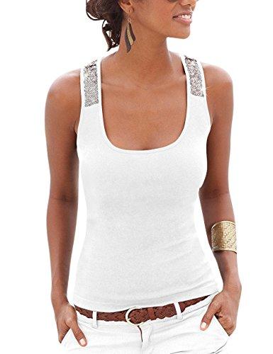 Flying Rabbit Sommer Sleeveless Tops Weste Pailletten Tank Strand T-Shirt Partykleid (L, Weiß)