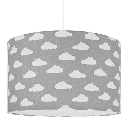 youngDECO Lampe für Baby- und Kinderzimmer, Wolke auf Pastellgrau, großer Lampenschirm 38x24cm, skandinavische Kinderzimmer-Deko für Mädchen & Junge, komplette Deckenlampe für Kinderzimmer