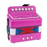 Pequeño de Acordeón 7 Keys Instrumento de Música Educativo Juguete de Niño Principiante - 5 Colores - Rosa roja