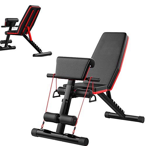 Roman Chair Adjustable Weight Bench 330lbs Capacity, Incline Decline Weight Lifting Workout Bench Home Gym, Multi-Position Utility Bench for Full Body Workout, Folding Dumbbells Bench with Elastic Ropes