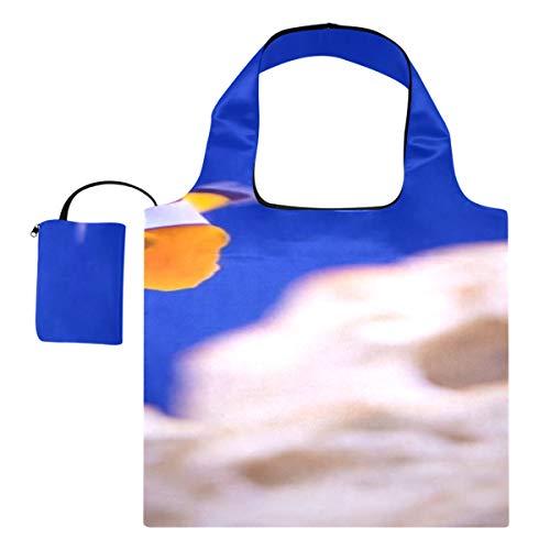 Reisetasche Anemone Animal Aquarium Clownfisch Marine Ocean Canvas Große Einkaufstasche Mode Umhängetasche Polyester Wiederverwendbare Einkaufstaschen, waschbar, langlebig und leicht