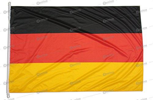 Deutschlandfahne 150x100 cm aus nautischem Windschutzgewebe von 115 g/m2, waschbare deutsche Fahne, professionelle Deutschland Flagge 150x100 mit Karabiner, Kappnaht und Verstärkungsband am Rand