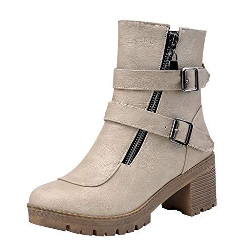 Allence Damen Stiefeletten mit Blockabsatz Schlupfstiefel Flandell Warm Gefüttert Schuhe Übergrößen Worker Biker Boots