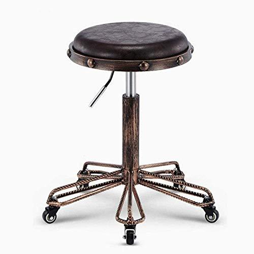 LLDKA Taburete de Taller de Ruleta de Ruedas, Taburete de Taller de Ruleta con sillas de Asiento de Cuero de PU marrón,Negro