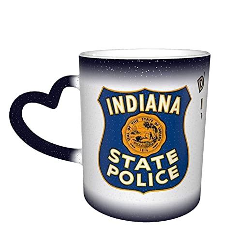 Taza cambiante de color cambiante de color de la policía estatal de Indiana de Perú personalizada, sensible al calor, taza de café mágica