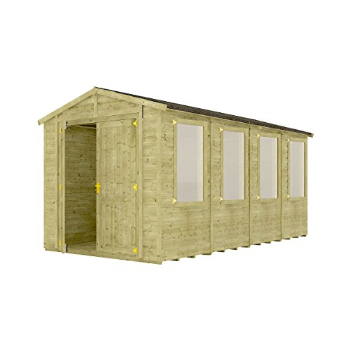 Project Timber 16 x 8 Pressure Treated Windowed Grandmaster Wooden Garden Shed Traditional Apex Gable Double Door 16FT x 8FT