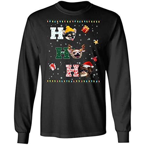 MaxTee Ho Ho Ho Chihuahua Christmas Dog Cute Ho Ho Ho Ornament Shirt Long Sleeve