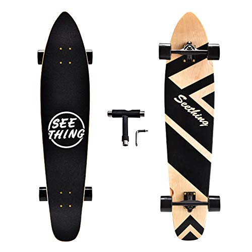 seething 42 Inch Longboard Skateboard Complete Cruiser,The Original Artisan Maple Skateboard Cruiser for Cruising, Carving, Free-Style and Downhill(Black)