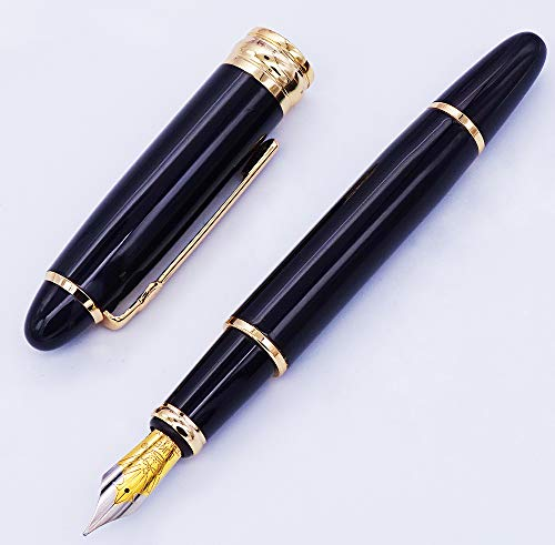 Pluma estilográfica Duke 146, color negro noble, punta mediana de iridio con estuche para bolígrafos