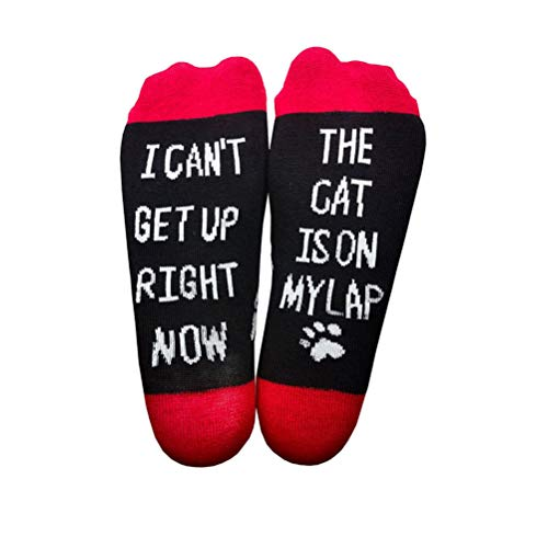 Funny Socks Cat Lovers Socks CAT IS ON MY LAP I CAN'T GET UP Novelty Socks Cotton Socks Gifts For Animal Lover