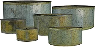 CYS EXCEL Rustic Pots for Plants, Corrugated Zinc Cylinder Vases, Antique Looking Candle Holder, Metal Cup Planters for Succulents, Pack of 1 Set of 6