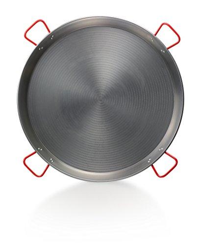 La Ideal Paella Pfanne Stahl poliert, Silber/rot, 100cm