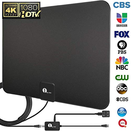 HDTV Antenna, TV Antenna Digital Amplified Indoor HD Up to 80 Miles Range, Amplifier Signal Booster Support 4K 1080P UHF VHF Freeview HDTV Channels with Coax Cable