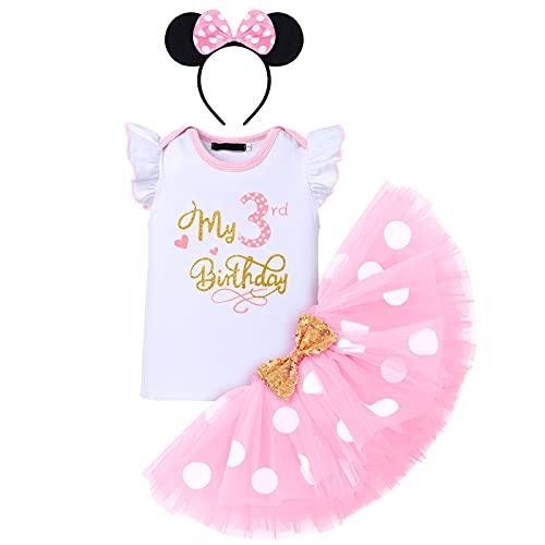 FYMNSI Conjunto de ropa de 3 piezas para niñas de 1/2/1/2/3 cumpleaños de algodón de manga corta + falda de tutú de lunares + diadema de orejas., Rosa - Mi 3º cumpleaños, 3 años
