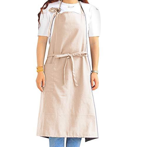 AchidistviQ Tablier tendance unisexe de couleur unie avec poche à lacets sur le devant pour la maison, le restaurant, l'artisanat, le jardin, le barbecue, l'école, le café, pour homme et femme – Beige