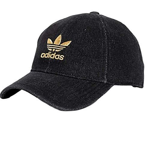 adidas Originals Women's Relaxed Adjustable Strapback Cap, One Size (Black Denim/Gold)