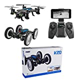EisEyen 360 Grad 2in1 WiFi FPV RC Drohne Quadcopter + Auto Racing Car mit HD Kamera 0.3MP High Speed Off Road Monster Truck Spielzeug fr Anfnger