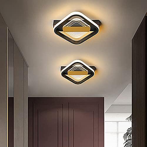 Plafón cuadrado LED estilo nórdico moderno negro dorado luces de camino para entrada, pasillo, balcón, salón, luz tricolor 12 W (cuadrado)