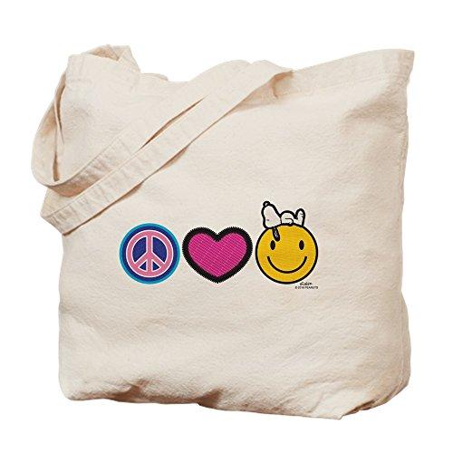 CafePress–Frieden Love Snoopy Peanuts–natürliche Canvas Tote Bag, Tuch, mit Tasche, canvas, khaki, M