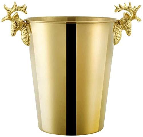 Topinged Secchiello per Champagne in Acciaio Inossidabile con Secchiello per Champagne in Oro con Manico a Testa di Cervo 5L
