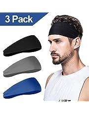 Herenhoofdband (verpakking van 3 stuks), zweetband en sporthoofdband voor hardlopen, fietsen, yoga, basketbal, stretchy vochtafvoerende uniseks haarband.