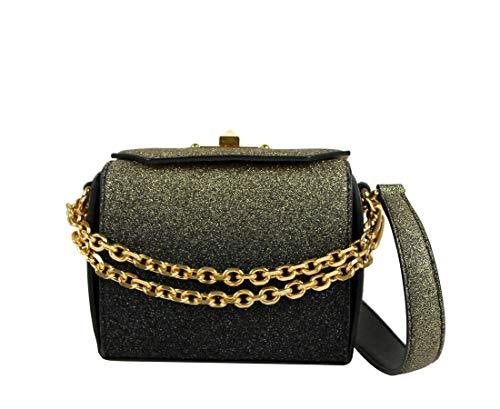 Alexander McQueen Women's Gold Black Glitter Leather Box 16 Chain Crossbody Bag 479767 1070