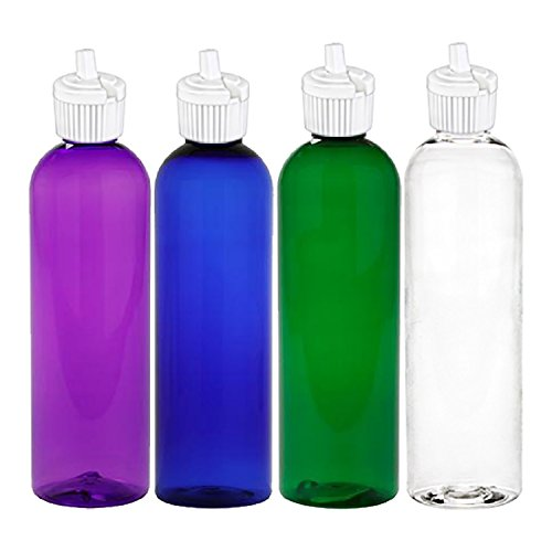 MoYo Natural Labs 4 oz Squirt Bottles, Squeezable Empty Travel Containers, BPA Free PET Plastic Essential Oils and Liquids, Toiletry/Cosmetic Psychedelic Bottles (Neck 20-410) (Pack of 4 Multi Color)
