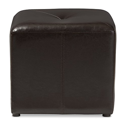 Baxton Studio Brown Lave Cube Shaped Bonded Leather Ottoman, Small