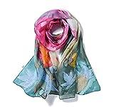 Invisible World Foulard Seta da Donna 100% Lunga Dipinta a Mano per Collo, Testa o Capelli - Bouquet...