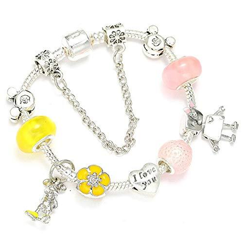 YGONG Cute Kitty Charm Bracelet with Pink Angel Girl Beads Pulsera Fina para Mujeres Niños Regalo de joyería de Moda 19cm 012
