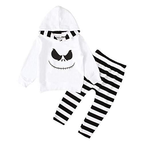 Disfraz Halloween Niño Bebe 1-4 años Ghost Smile Sudaderas con Capucha y Manga Larga + Pantalones a Rayas (18 Meses, Blanco)