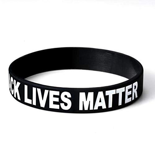 Black Lives Matter Pulseras con Mensaje Positivo Pulseras Bandas Goma Pulsera De Silicona para Hombres Mujeres Pulsera De Silicona De Motivacion, Fitness, Pulsera Gym, para Hombre, para Mujer