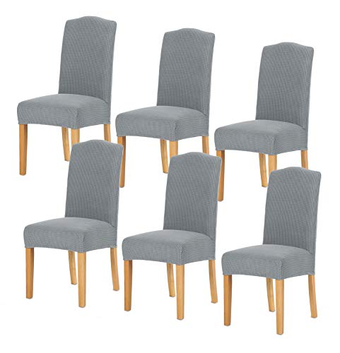 TIANSHU Stretch Dining Room Chair Cover for Home Decor Durable Washable Dining Chair Slipcover Antislip Parson Chair Cover (6 Pack, Light Gray)