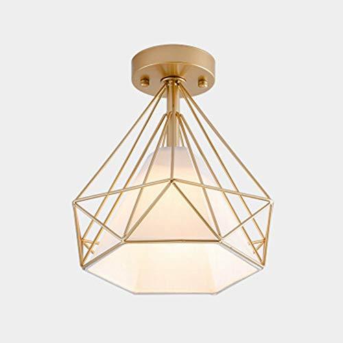 Lámparas de techo de luz LED en forma de diamante Goldfarbig luz de techo Lámpara de arte de hierro caliente para el salón del pasillo Loft armarios jardín balcón escaleras E27 12W 840lm