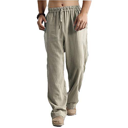 Kenebo Pantaloni da Uomo in Lino di Cotone Pantaloni da Uomo Kung Fu Pantaloni Mens Estivi Sottili Pantaloni Casuali Albicocca 3XL/48EU