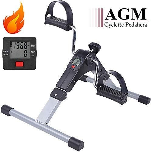 AGM Mini Cyclette Pedaliera Fitness Pieghevole per Braccia e Gambe con LCD Display Pedaliera da Casa Regolabile Digitale Mani e Piedi(Exercise Pedal Bike)